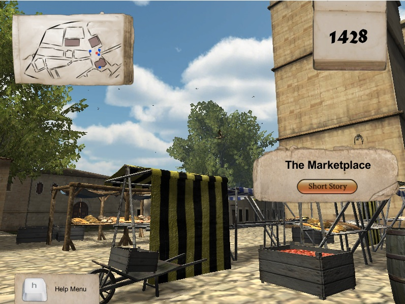 At the marketplace in 1428. Click on the